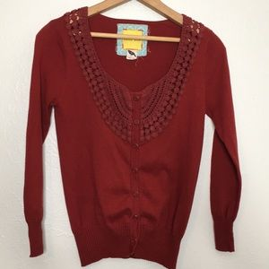Anthropologie Bella bird crochet detail cardigan S